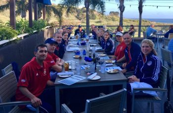 Enjoying fine dining as the US Armed Forces team